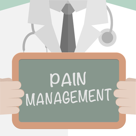 Minimalistic illustration of a doctor holding a blackboard with Pain Management text, eps10 vector