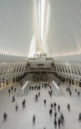 NEW YORK CITY - MAY 17 , 2017: inside Santiago Calatravas Oculus transportation hub that replaces the PATH train station which was destroyed during the 911 terrorist attacks. Editorial