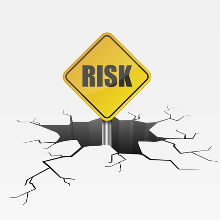 Detailed illustration of a cracked ground with yellow Risk sign. Illustration