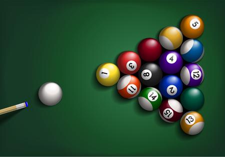Detailed illustration of billiard balls on green background.