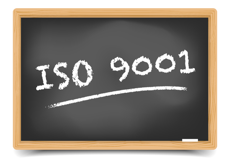 school: Detailed illustration of a blackboard with ISO9001.