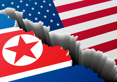 detailed illustration of the north korean and american national Flags with a deep crack, symbol for crisis and problems, eps10 vector