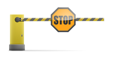 detailed illustration of a black and yellow striped car barrier with stop sign, eps10 vector Illustration