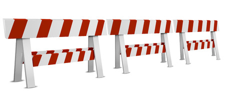 palisade: detailed illustration of a row of red and white striped roadblocks, eps10 vector