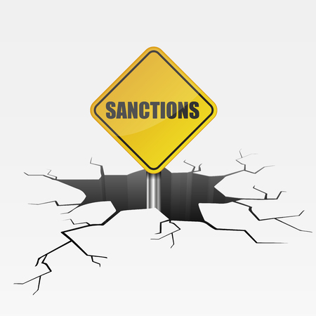 detailed illustration of a cracked ground with sanctions sign