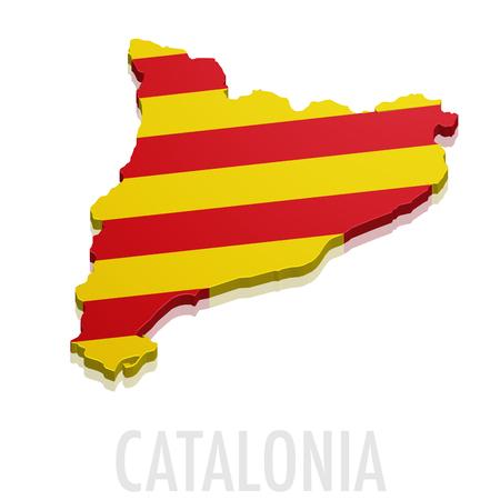 topografia: ilustración detallada de un mapa de Cataluña con bandera