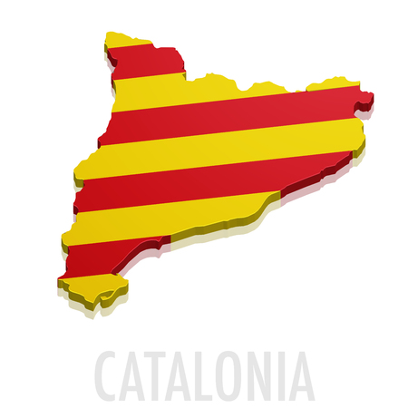 detailed illustration of a map of Catalonia with flag
