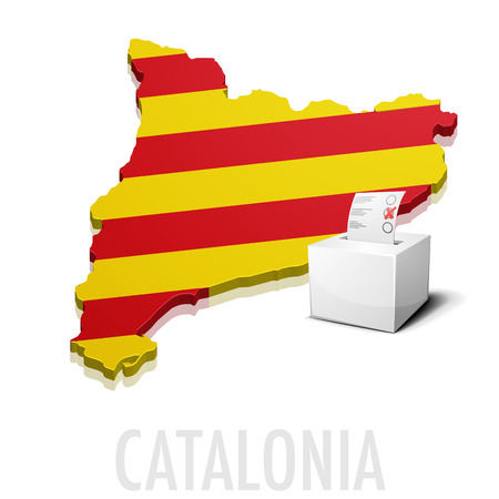 catalonia: detailed illustration of a ballot box in front of a map of Catalonia