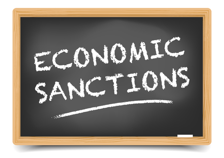 school class: detailed illustration of a blackboard with Economic Sanctions text , gradient mesh included Illustration