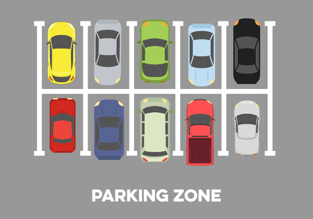 garage: illustration of a parking zone with different cars