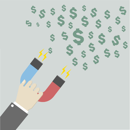 minimalistic illustration of a hand holding a magnet attracting dollars Illustration