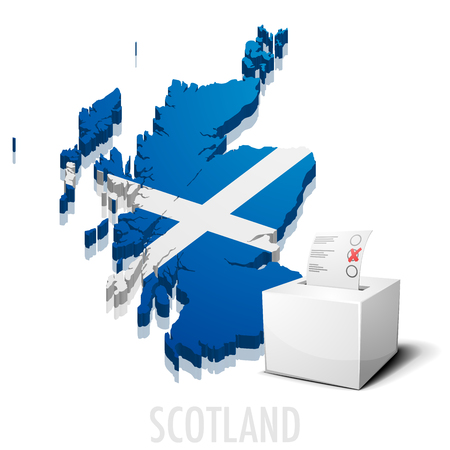detailed illustration of a ballotbox in front of a map of Scotland, eps10 vector Illustration