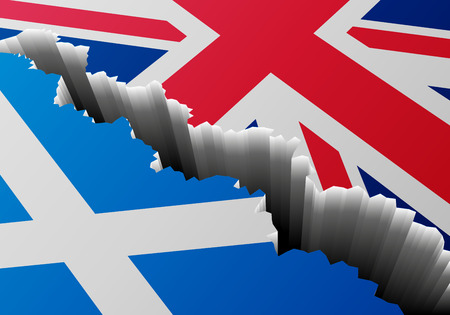 the great wall and the fall: detailed illustration of the scottish Flag and the Union Jack with a deep crack, symbol for crisis and problems, eps10 vector