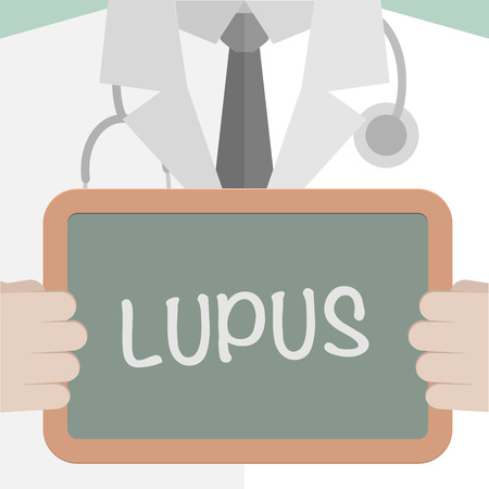 minimalistic illustration of a doctor holding a blackboard with Lupus text, eps10 vector