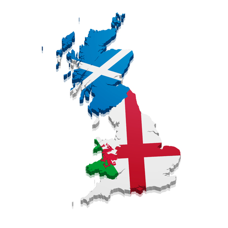 detailed illustration of a map of England, Scotland and Wales with their nationnal flag, eps10 vector