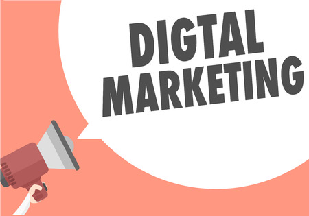 minimalistic illustration of a megaphone with Digital Marketing text in a speech bubble, eps10 vector