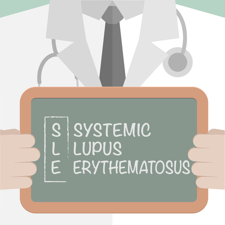 minimalistic illustration of a doctor holding a blackboard with SLE Term explanation, eps10 vector