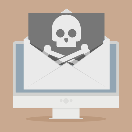 screen: minimalistic illustration of a monitor with a skull in an envelope on screen, cybercrime concept, eps10 vector