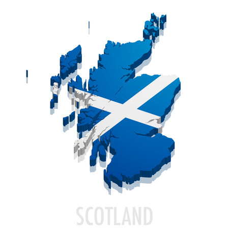 detailed illustration of a map of Scotland with flag, eps10 vector