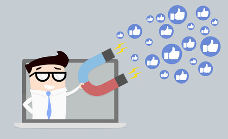 screen: minimalistic illustration of a businessman on a computer screen holding a magnet attracting likes, social media and influencer marketing concept, eps10 vector