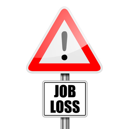 detailed illustration of a red attention Job Loss sign, eps10 vector