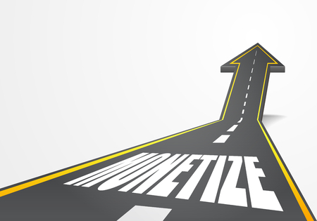 detailed illustration of a highway road going up as an arrow with Monetize text, eps10 vector