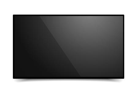 detailed illustration of a blank black TV mockup template, eps10 vector