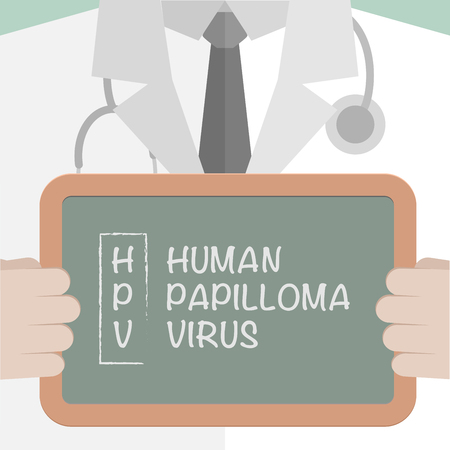 minimalistic: minimalistic illustration of a doctor holding a blackboard with HPV term explanation, eps10 vector Illustration