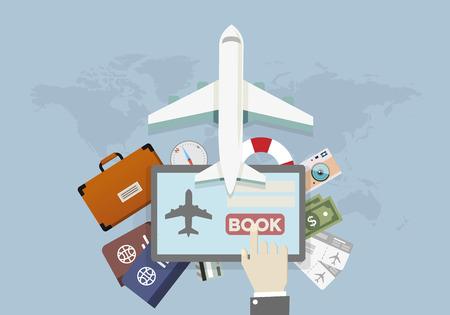 그림 휴가 및 여행 예약 개념, 태블릿 프레스 책 단추, eps10 벡터