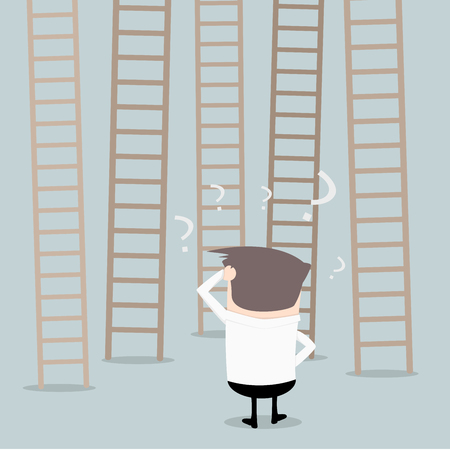 which one: illustration of a businessman standin in front of different ladders unsure which one to climb, decision making concept, eps10 vector Illustration
