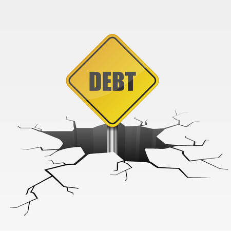 detailed illustration of a cracked ground with Debt text on a yellow roadsign, eps10 vector