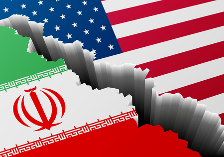 detailed illustration of the Iranian and american national Flags with a deep crack, symbol for crisis and problems, vector