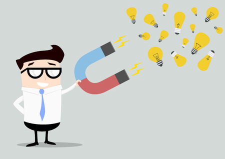 minimalistic illustration of a businessman holding a red and blue horseshoe magnet attracting lightbulbs, symbol for ideas and creativity