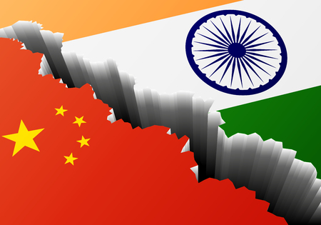 Detailed Illustration Of The Chinese And Indian National Flags