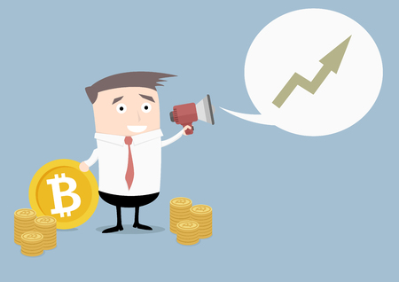minimalistic illustration of businessman holding a bitcoin and a megaphone announcing bitcoin growth evaluation Illustration