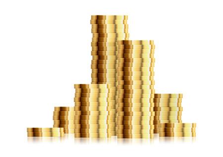 detailed illustration of multiple coin stacks Illustration