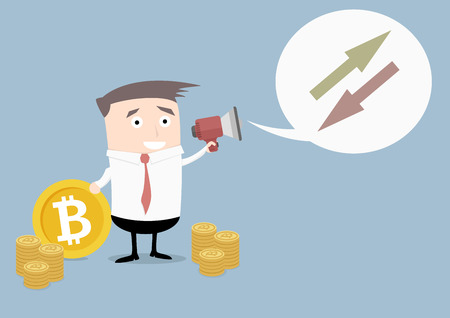 minimalistic illustration of businessman holding a megaphone with speech bubble announcing exchange rates evaluation for bitcoin Illustration