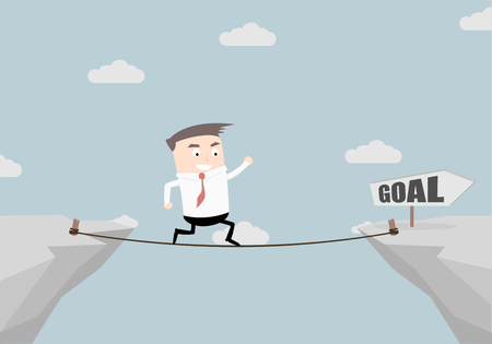 illustration of a businessman walking on a rope over a cliff with goal sign