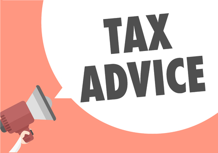 info: minimalistic illustration of a megaphone with Tax Advice text in a speech bubble