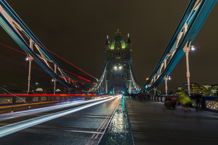 longterm exposure of the famous tower bridge with light trails in the city of London, Great Britain