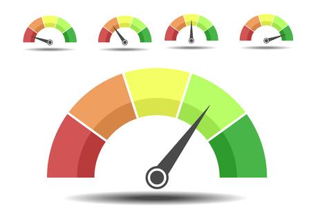 Ilustración minimalista de diferentes medidores de calificación, concepto de satisfacción del cliente
