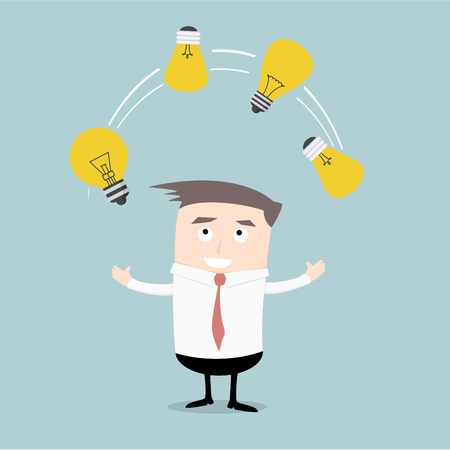 illustration of a businessman juggling with lightbulbs, symbol for idea finding, eps10 vector