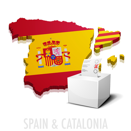 detailed illustration of a ballotbox in front of a map of Spain and Catalonia