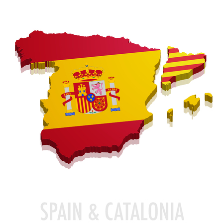 detailed illustration of a map of Spain and Catalonia with flag