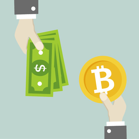 minimalistic illustration of a hands exchanging money and bitcoin