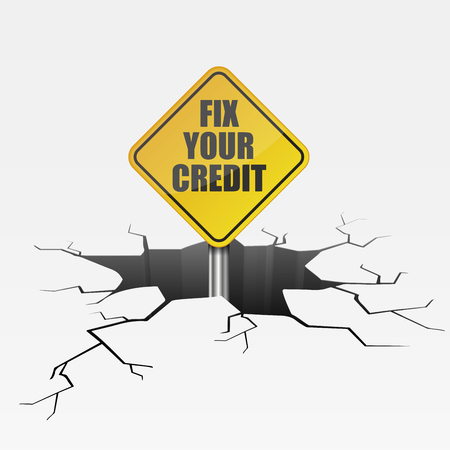 detailed illustration of a cracked ground with fix your credit sign Ilustração
