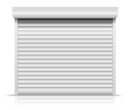 Ilustración detallada de una puerta de persiana cerrada Ilustración de vector