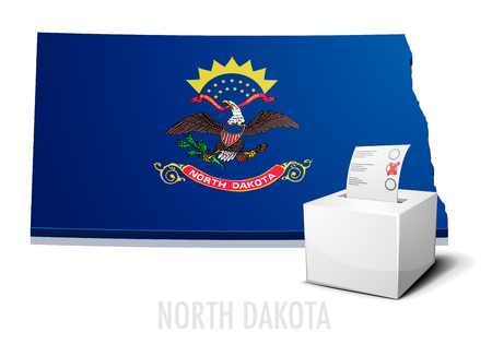 detailed illustration of a ballotbox in front of a map of North Dakota
