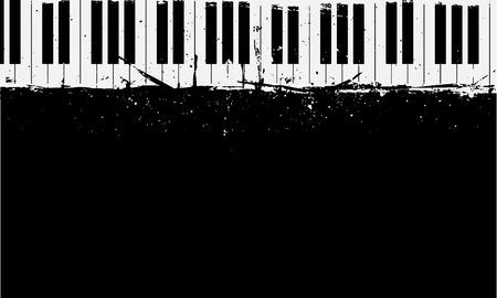 Ilustración detallada de fondo de piano grunge