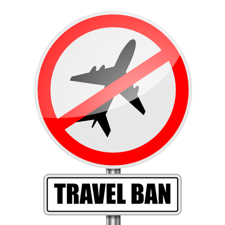 detailed illustration of a red attention Travel Ban sign